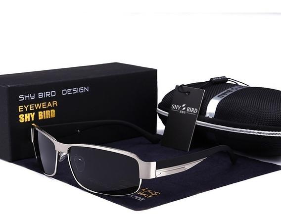 Óculos Sol Masculino Shybird Prata Uv400 Lente Polarizada §