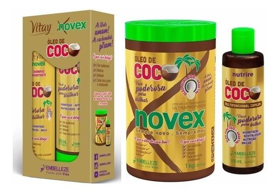 Oleo De Coco Novex Shampoo Condicionador Mascara E Oleo