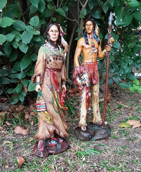 Estatua Xamã Casal De Índios Em Resina!