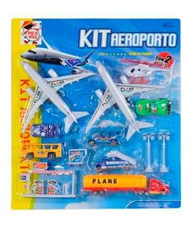 Kit Aeroporto Avião Brinquedo 15 Peças Helicóptero Onibus