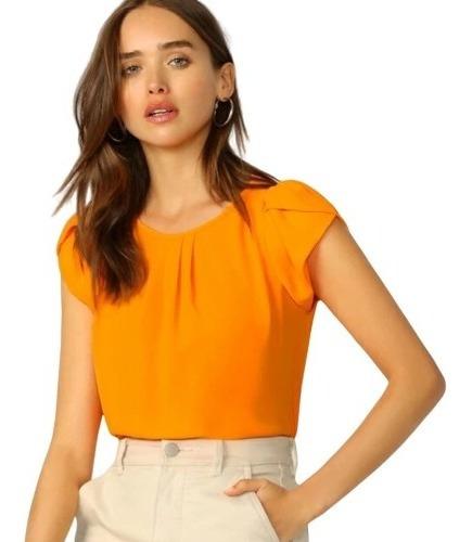 Blusa De Dama Elegante De Manga Pétalo Color Naranja Neón