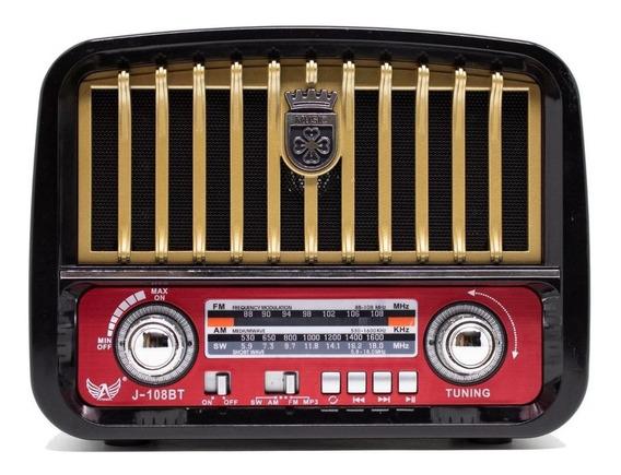 Caixa Som Antiga Retro Vintage Radio Am Fm Bluetooth Sd Top
