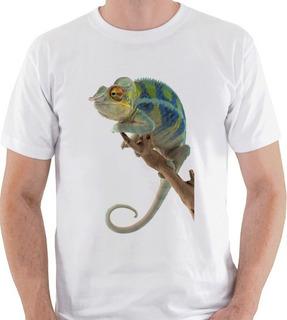 Camiseta Camaleão Animal Reptil Lagarto Camisa Blusa