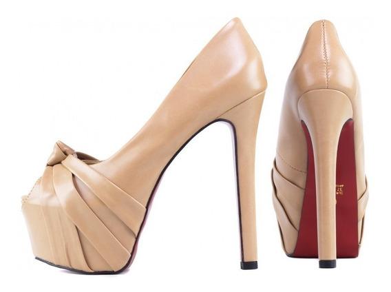 Sapatos Meia Pata Salto Alto Fino Luxo Solado Vermelho Origi