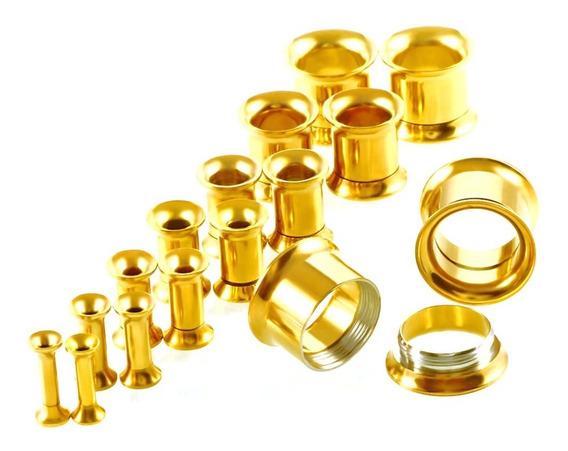 Alargador Par 5mm-12mm Dourado Flangeado Rosca Interna