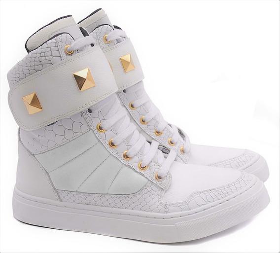 Sneakers Feminino P/ Treino Em Couro Palmilha Confort Tênis