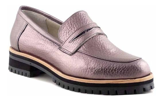 Mocasin Zapato De Mujer Cuero Briganti Base Goma - Mcmo03634