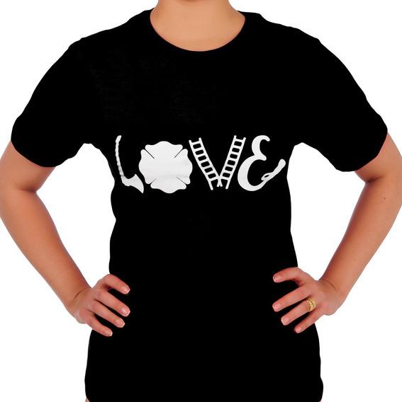 Camiseta Bombeira - Feuer - Love - Feminina