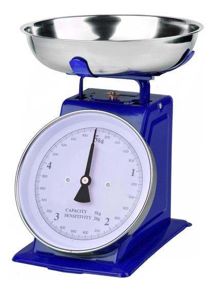 Báscula De Cocina Retro 5 Kg Azul - Ba2002