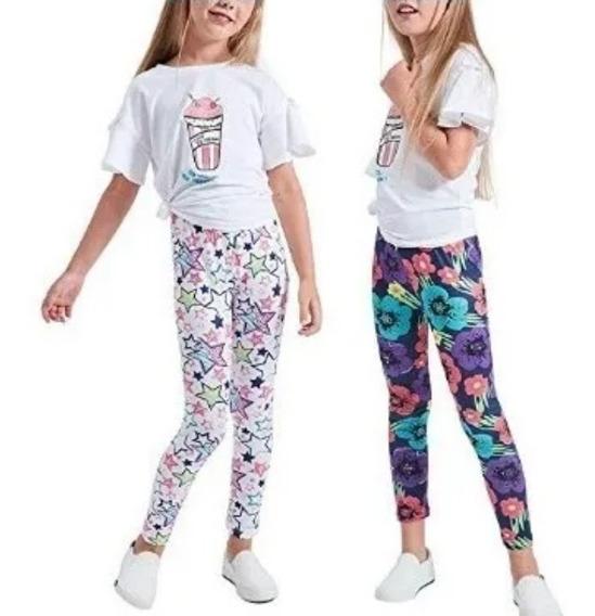 2 Leggings Elásticas Para Niña, Pantalón Liso