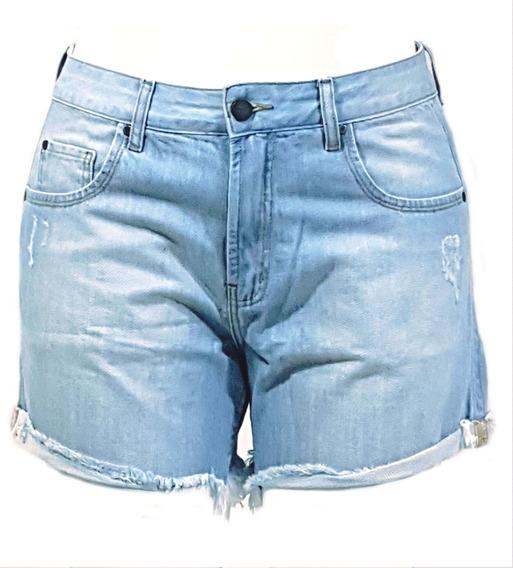 Shorts Feminino Jeans Curto Rasgado Desfiado Cintura Média