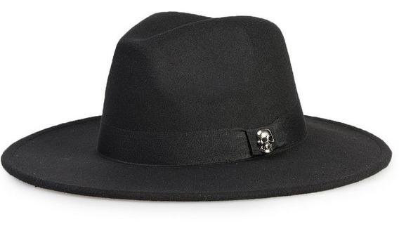 Chapéu Fedora Preto Personalizado Escolha Sua Caveira
