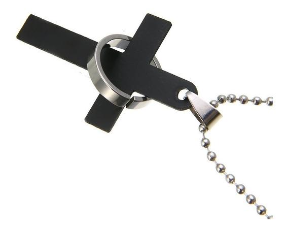 Colar Pingente Cruz Pai Nosso Titânio Cross Ring + Brinde