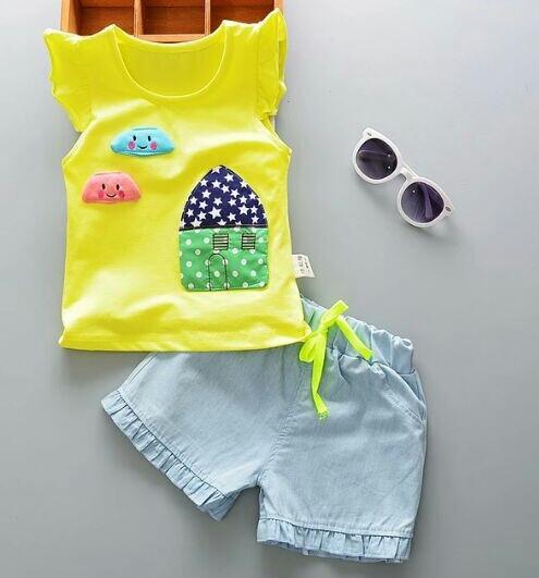 Conjunto Infantil Feminino Blusa E Short 1 Ano