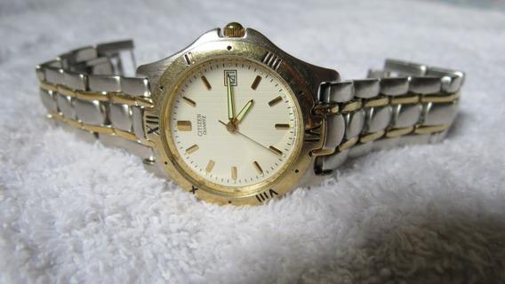 Relógio Citizen Quartz Aço Inox Com Detalhes Em Ouro