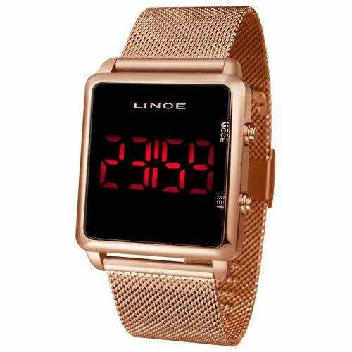 Relógio Lince Led Digital Rosê Unissex Mdr4596l Pxrx