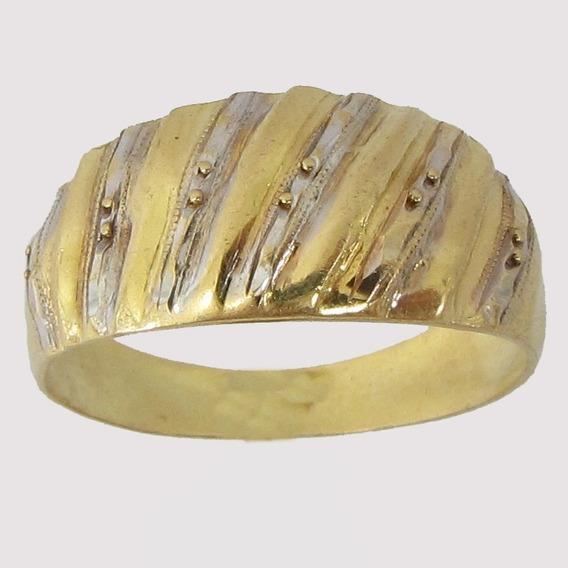 3022 Anel De Ouro 18k 750 Com Detalhe Em Ouro Branco