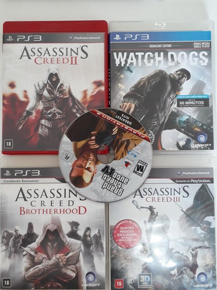 Lote De Jogos Ps3 - Gta + Assasins Creed + Watch D