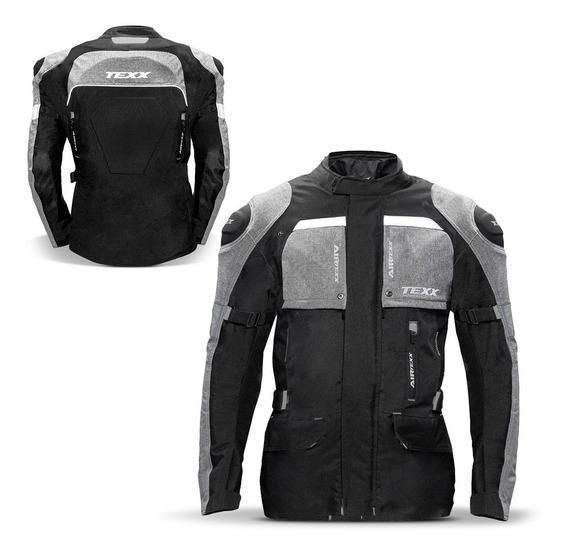 Jaqueta Moto Masculina Parka Texx Armor Protetor Cinza