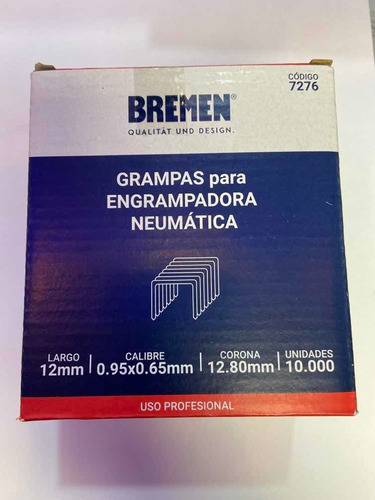 Imagen 1 de 2 de Grampa Engrampadora Neumatica Bremen 7276 12,8x12mm Ionlux