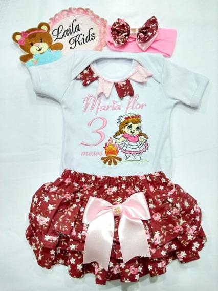 Body Infantil Personalizado Com Nome Do Bebê Calcinha E Laço