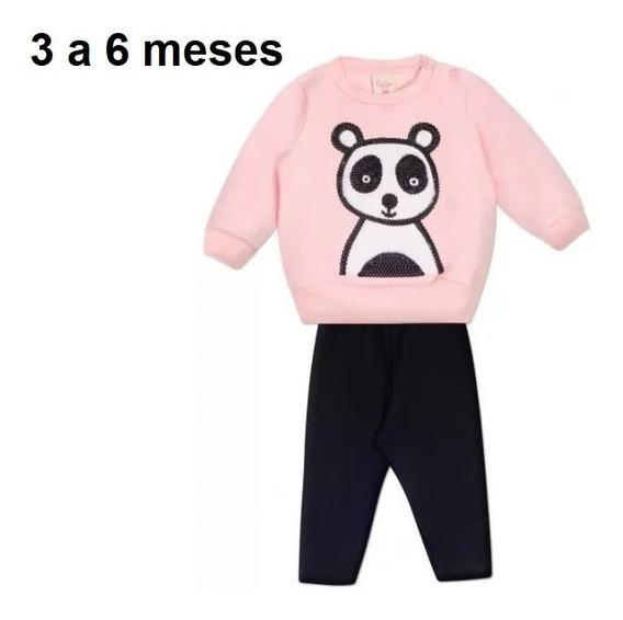 Conjunto Moletom Paetê + Calça Panda Tam. 3 A 6 Meses Menina