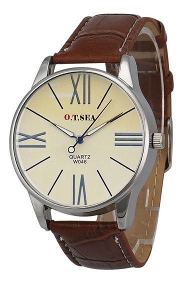 Reloj Casual Acero Cuarzo Marca O.t.sea Modelo 1007# Café