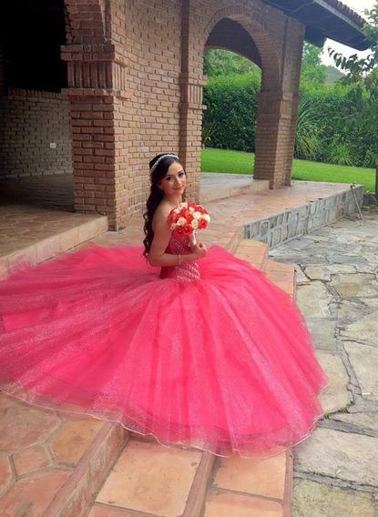 Vestido Rosa De Xv Con Pedrería Incluye Regalo