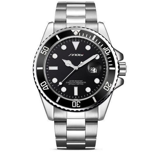 Relógio Masculino Quartz Com Pulseira De Aço Sinobi Original