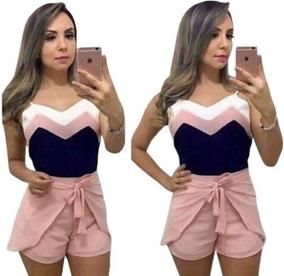 Shorts Envelope Soltinho Com Amarração + Blusa Crepe Alcinha