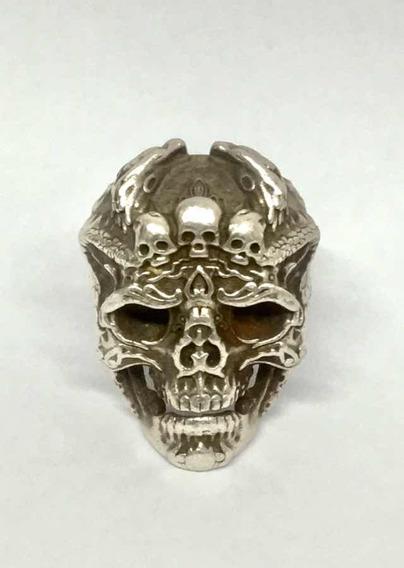 Anel Masculino Em Prata Maciça 925 - Crânio - Caveira