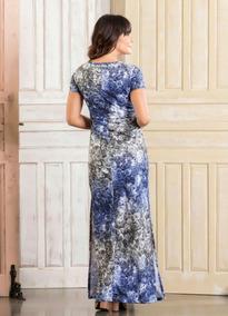 Vestido Longo Floral Moda Evangélica Decote V Frete Grátis