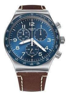 Reloj Swatch Hombre Marrón Casual Blue Yvs466 Malla Cuero Wr