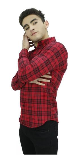 Camisa M/l Roja Doble Cuadro