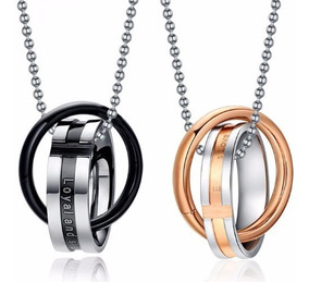 Conjunto 2 Colares Anéis Namorados Casais Em Aço Inoxidável