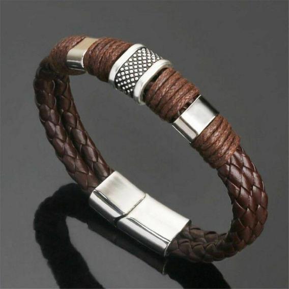 Pulseira Bracelete Masculino Couro Marrom Com Metal