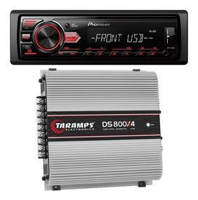 Potência Taramps 800w Ds 800x4 + Rádio Automotivo Pioneer