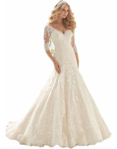 Imagen 1 de 4 de Vestidos Novia Nuevo Barato Bonito Elegante Sirena 2812 Sale