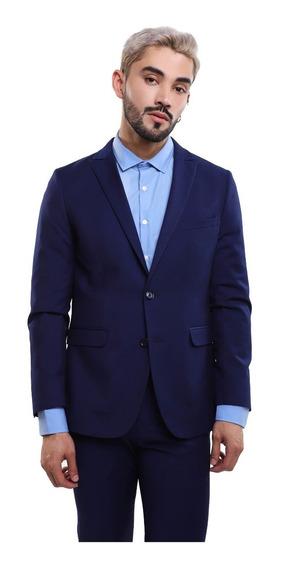 Saco Hombre Pañuelo En Bolsillo Color Azul Lob