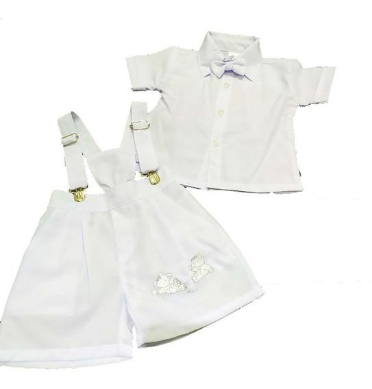 Roupa Batizado Branco Bebê Social Menino Infantil Bermuda