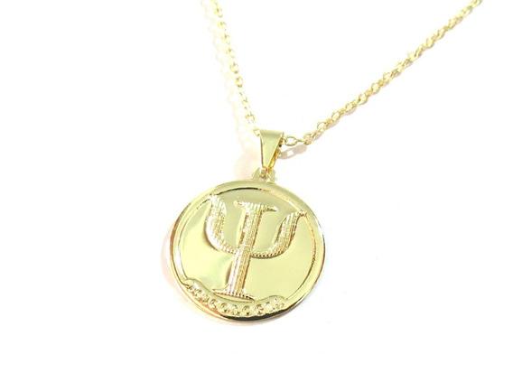Colar Cordão Medalha Psicologia Folheado Ouro 18k