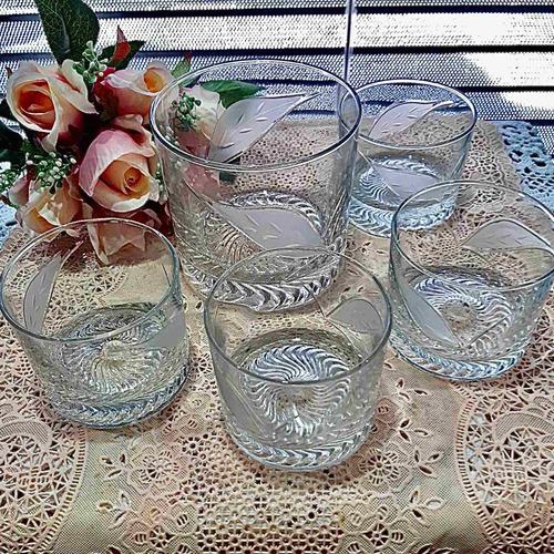 Antigua Hielera Y 4 Vasos De Whisky