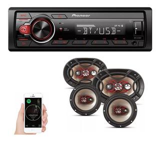 Aparelho Automotivo Pioneer Bluetooth 298bt + 4 Auto Falante