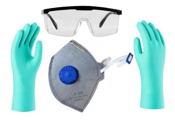 Kit Proteção,2 Mascara 1 Óculos E 1 Par De Luva Nitrilica