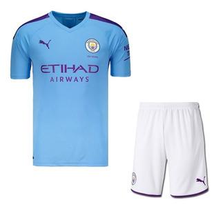 Uniforme Infantil Do Manchester City 19/20 Inglês - Oficial