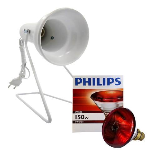 Imagem 1 de 9 de Kit Fisioterapia Suporte Infra + Lamp. Philips 150w 127v