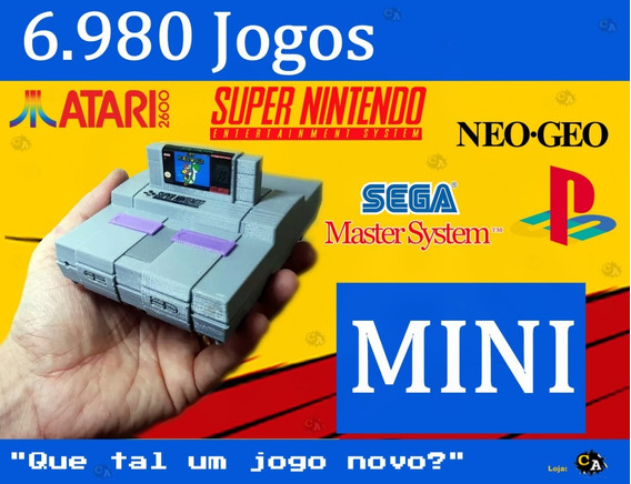 Vídeo Game Retro Super Nintendo Snes 7000 Jogos 2 Controles