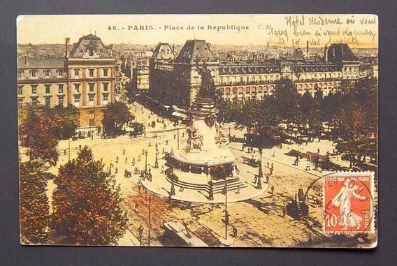 Postal Francia París Plaza De La República Usada Exc 1911