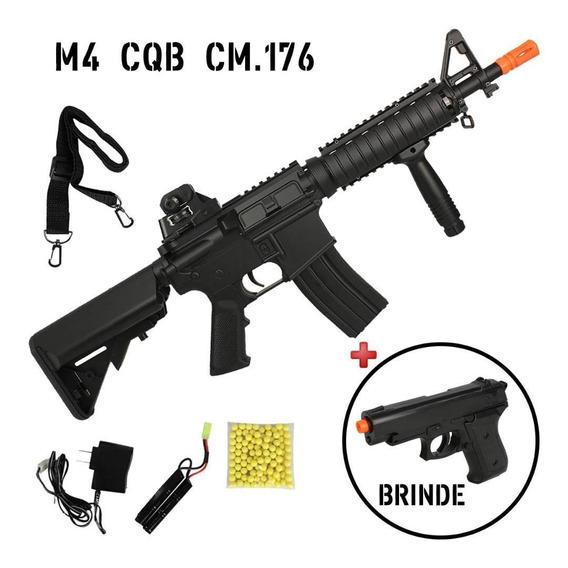 Airsoft Rifle Metralhadora Fuzil Aeg M4 Cqb Cm176 + Brinde