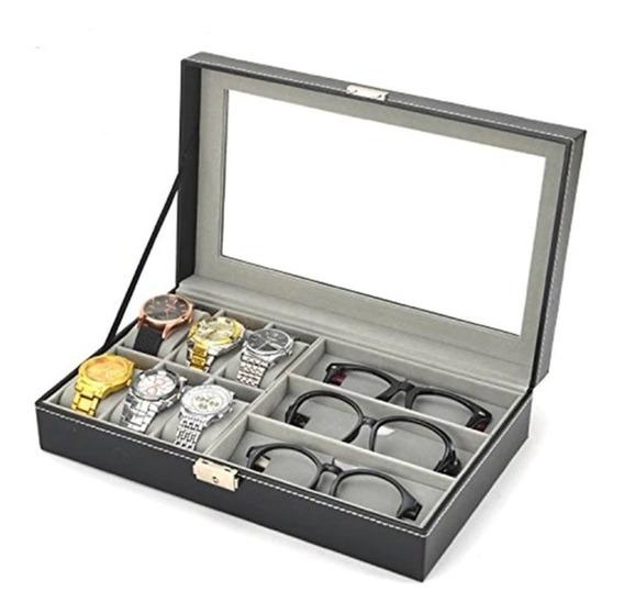Maleta Estojo Porta 6 Relogios E 3 Oculos Caixa Organizadora